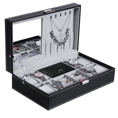 BEWISHOME Jewelry Box 8 Watch Box Organizer 2-in-1 Storage Show Case Display Metal Hinge Mirrored Black PU Leather SSH05B