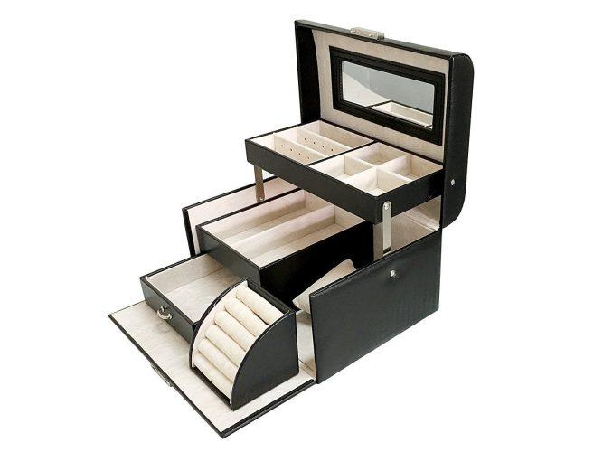 Sodynee New Black PU Leather Jewelry Display Box Organizer Tray Lockable Makeup Storage Case with Mirror