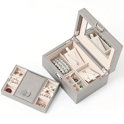 Vlando Wooden Jewelry Box, Jewelry Organizer, and Storage- Grey