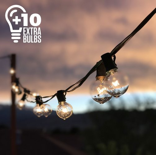 50ft Black String Lights, 60 G40 Globe Bulbs (10 Extra): Connectable, Waterproof, Indoor/Outdoor Globe String Lights for Patios, Parties, and Weddings