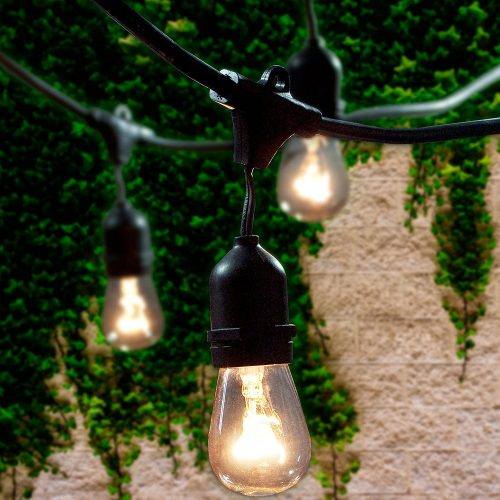 Lemontec Commercial Grade Outdoor String Lights with 15 Hanging Sockets - 48 Ft black weatherproof cord Weatherproof Strand for Patio Garden Porch Backyard