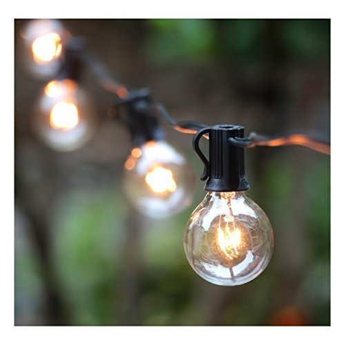 25Ft G40 Globe String Lights with Clear Bulbs, UL listed Backyard Patio Lights, Hanging Indoor/Outdoor String Lights for Bistro Pergola Deckyard Tents Market Cafe Gazebo Porch Letters Party Decor, Black