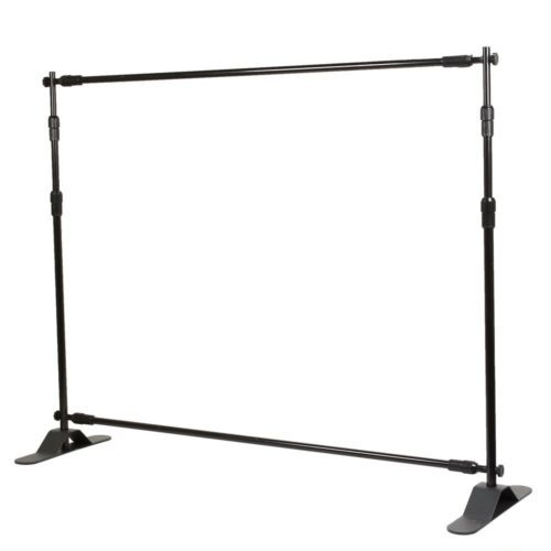 Flexzion Backdrop Stand - Telescopic Banner Stand 8'x8' Step and Repeat Adjustable Photographic Back Ground Expanding Display for Party Trade Show Exhibitions Wall Exhibitor with Carrying Case