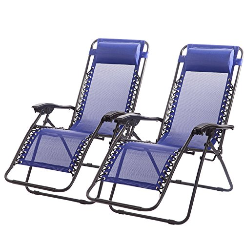 Set of 2 Zero Gravity Chairs Lounge Patio Chairs Outdoor Yard Beach (Blue)
