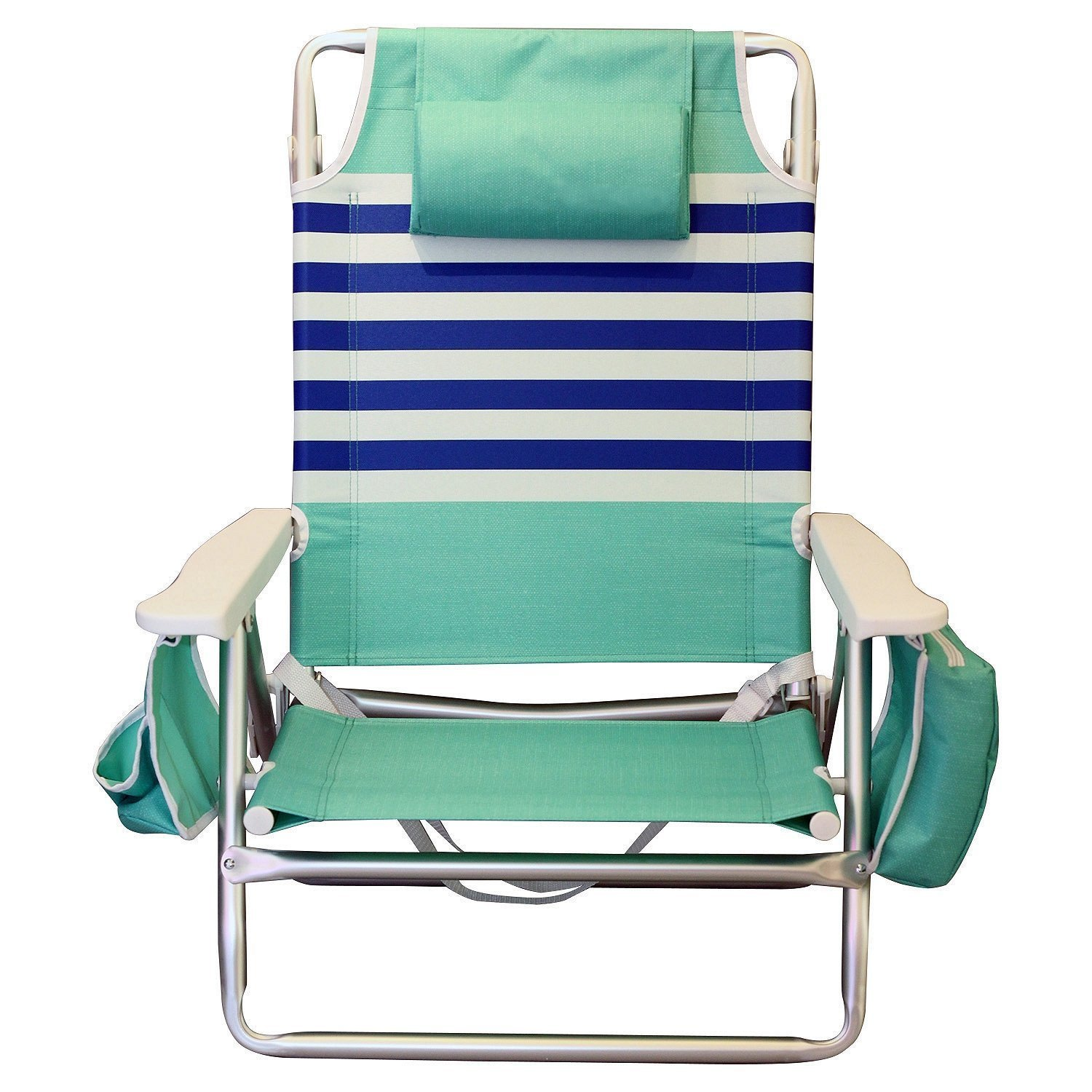 Nautica Reclining Portable Beach Chair with Insulated Cooler