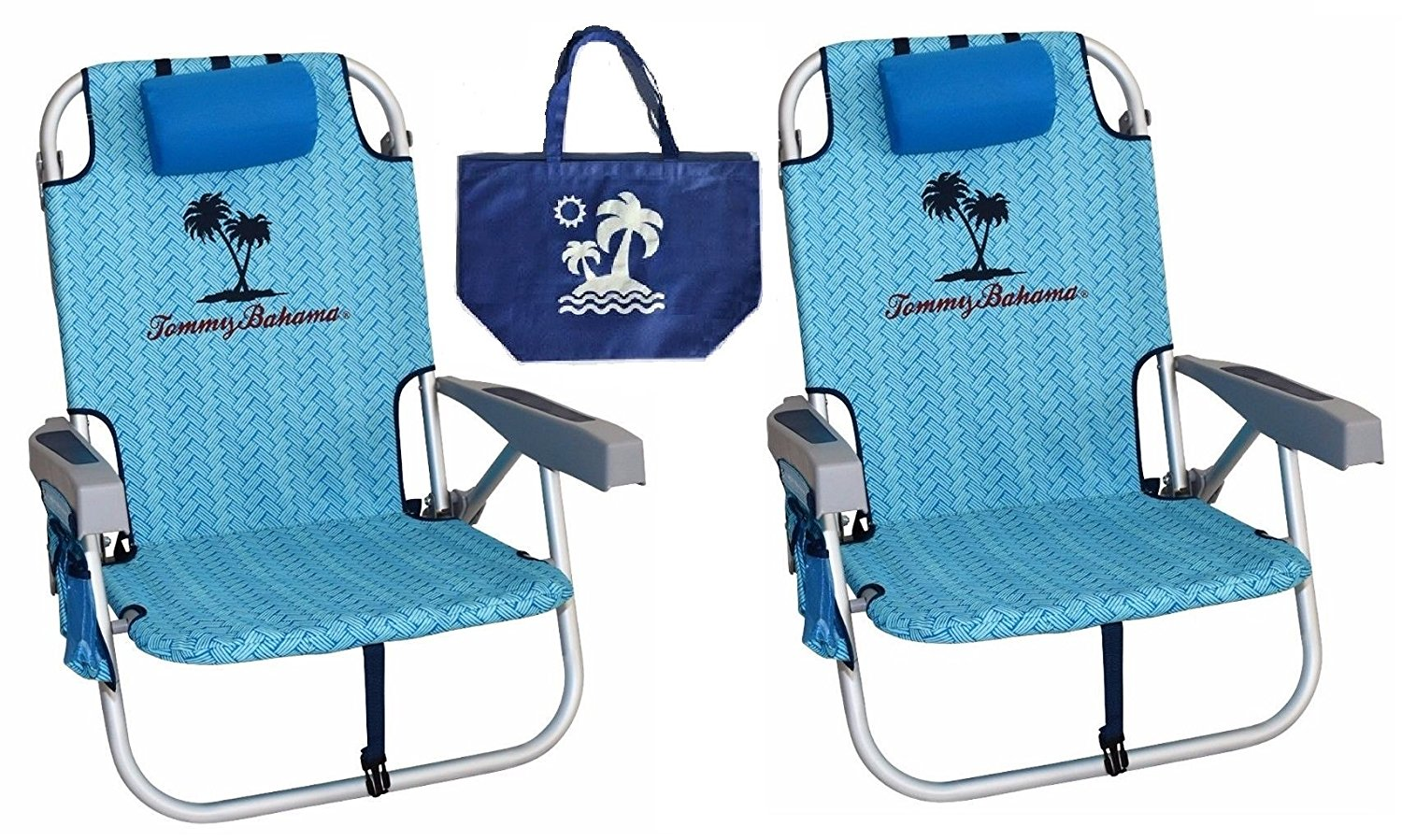 2 Tommy Bahama Backpack Beach Chairs/ Light Blue + 1 Medium Tote Bag