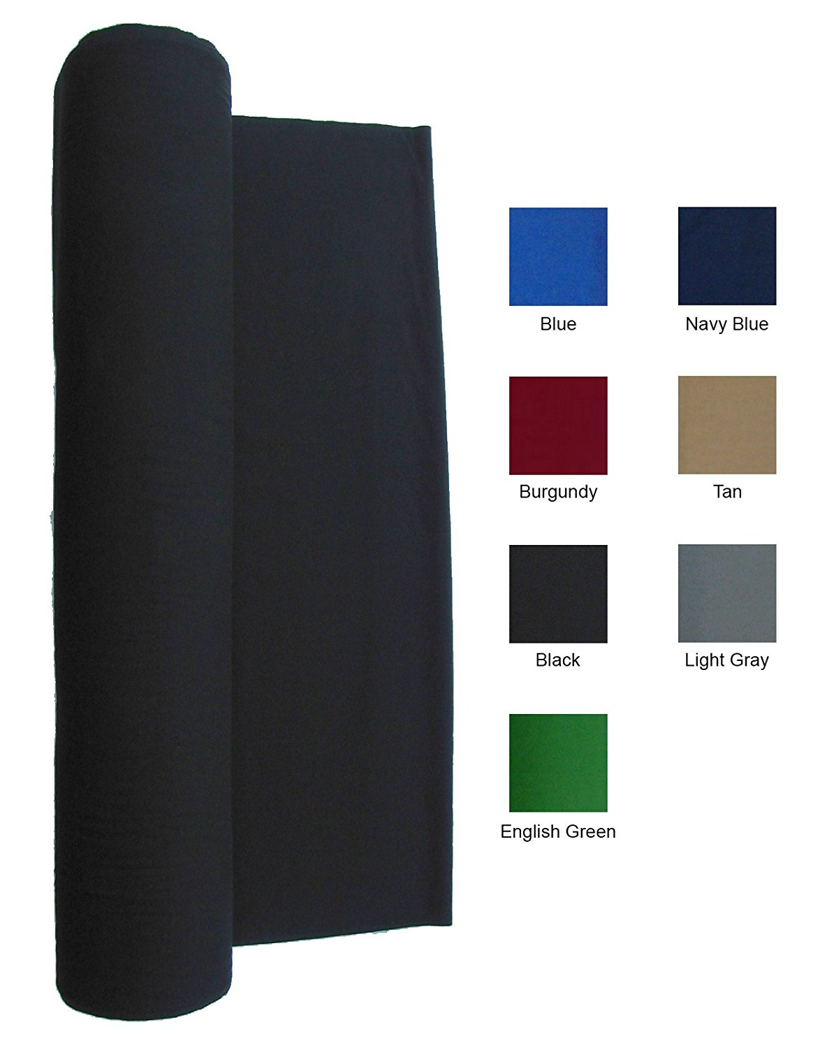 21-Ounce Pool Table Felt - Billiard Cloth - For a 7 Foot Table Black
