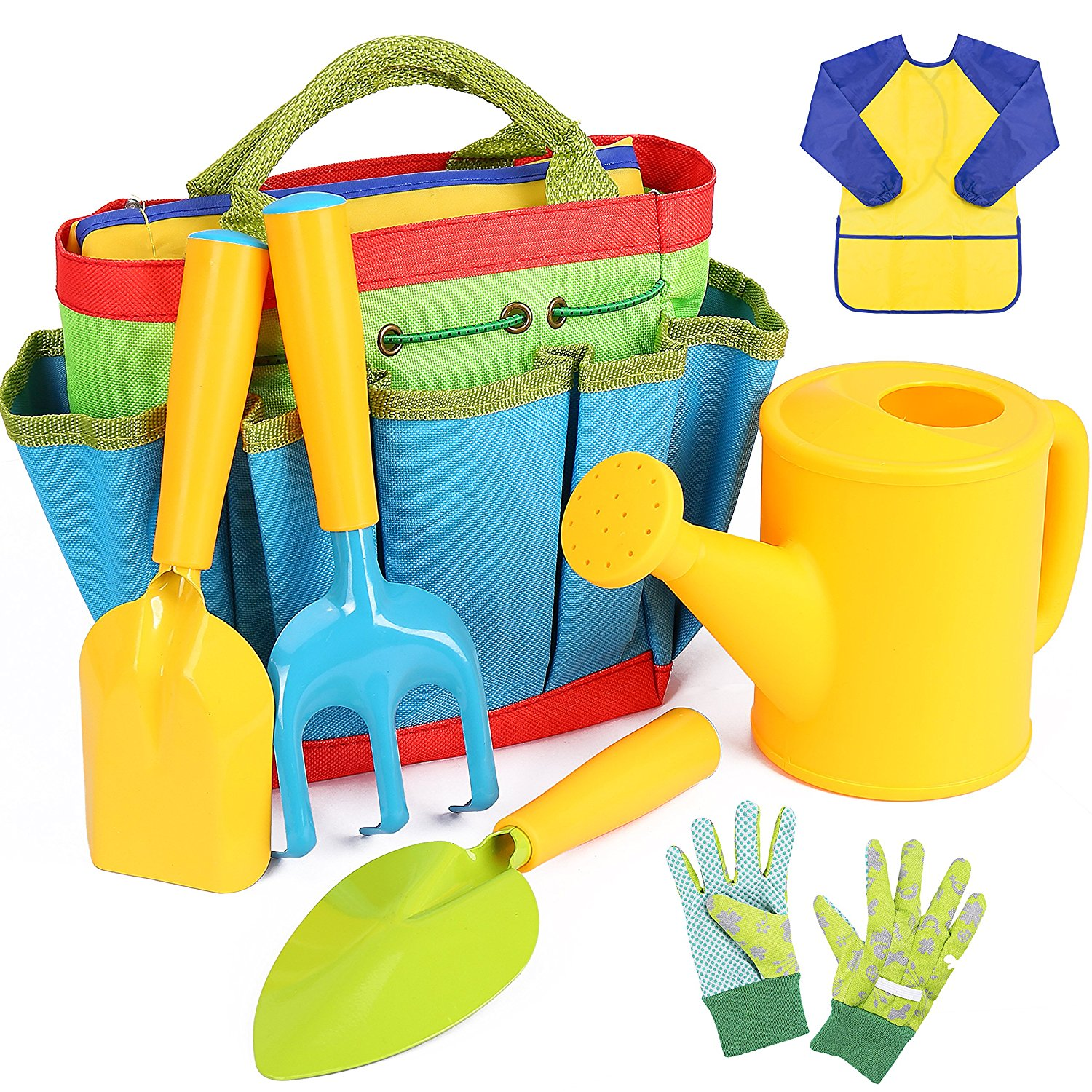 INNOCHEER Kids Gardening Tools, 7 Piece Garden toolset for Kids with Watering Can, Gardening Gloves, Shovel, Rake, Trowel and Kids Smock, All in One Gardening Tote