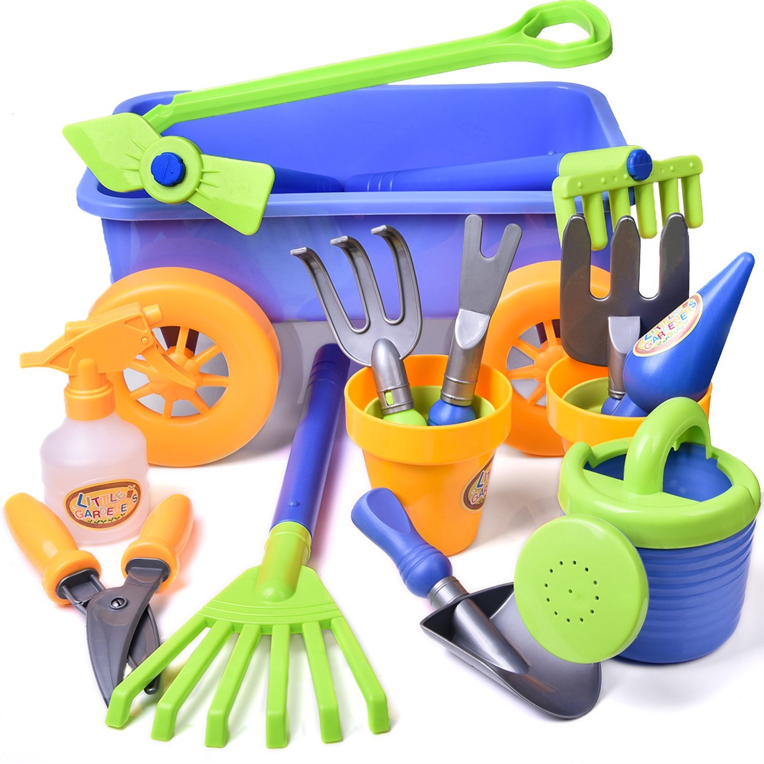 Kid's Garden Tool Toy Set Beach Sand Toy With Wagon Kids Outdoor Toys Gardening Backyard Tool Set with Watering Can, Shovels, Rakes, Bucket, Spray Bottle, Scissor, and 4 Castle Molds Packaged - 15 PCs