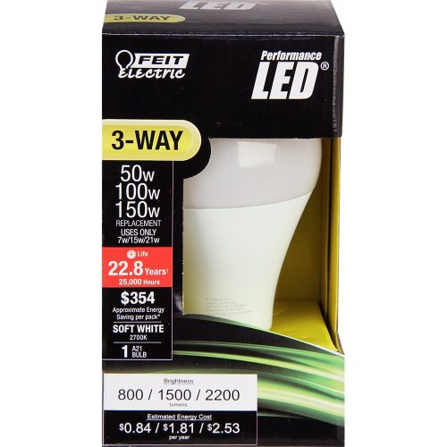 Feit Electric A50/150/LEDG2 50/100/150W Equivalent 3-Way LED Light Bulb, Soft White