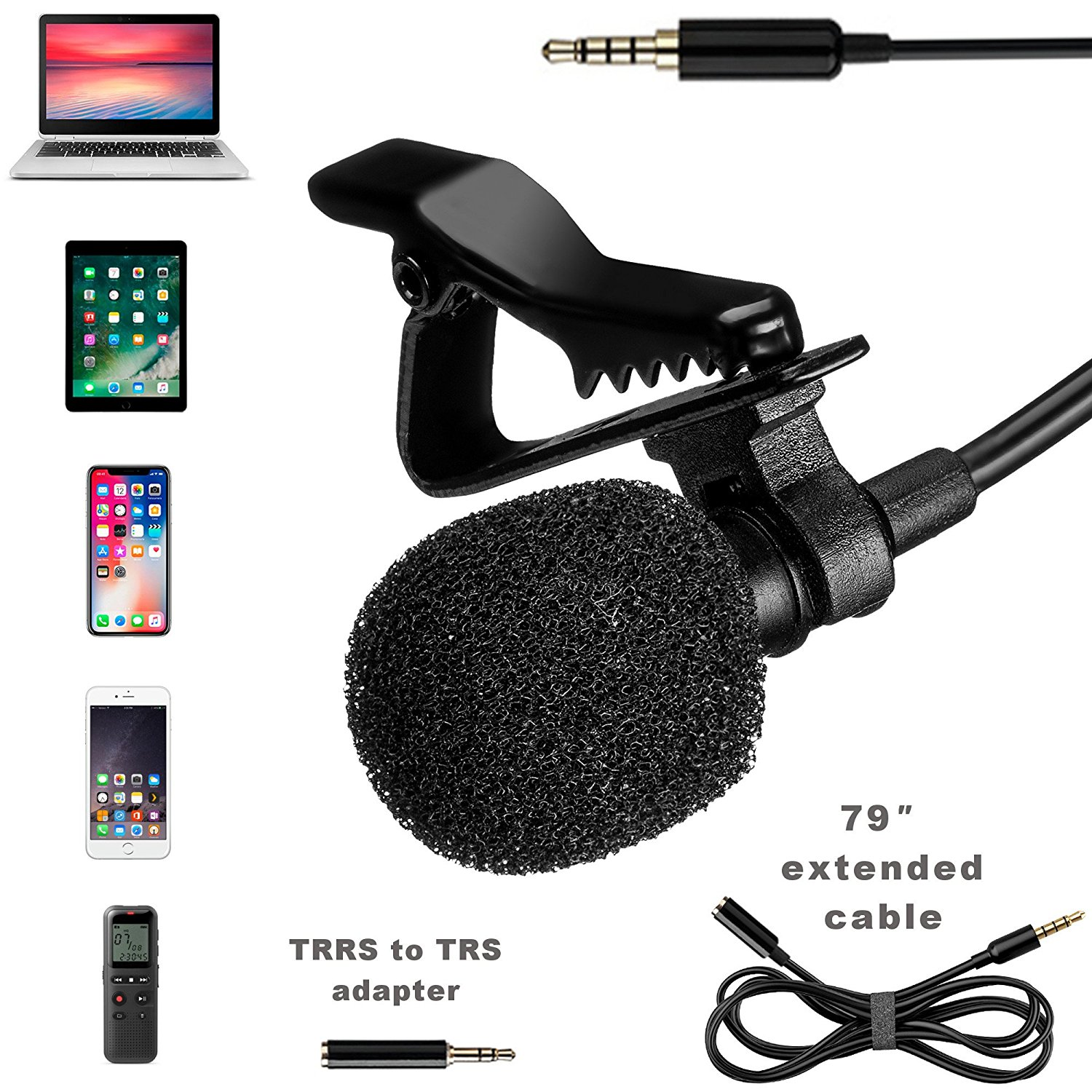 Lavalier Microphone - Professional Lapel Mic For Recording Interview, Podcast, Speech, Vlog, Video, Youtube - External Mic For iPhone, Android, Laptop - Pro Grade Lapel Microphone - Clip-On Microphone