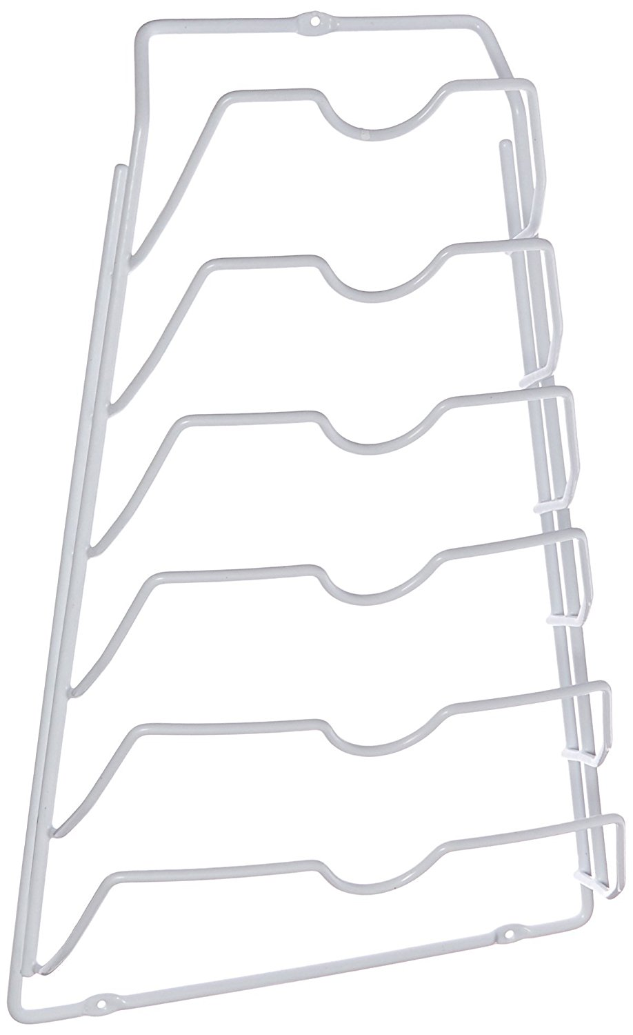 Organize It All Wall Cabinet Door Mounted Metal Pot Lid Rack, White