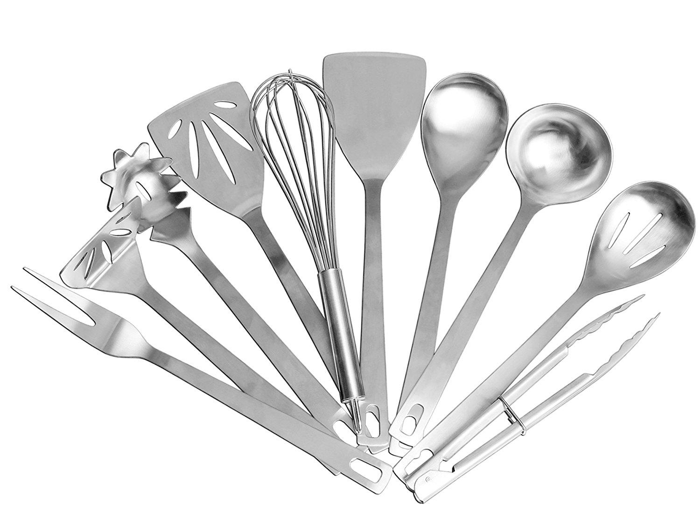 Stainless Steel Cooking Utensils [10-Piece set]