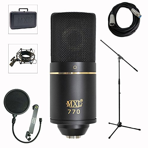 MXL 770 Professional Studio Condenser Mic + Mic Stand + Pop Filter + XLR Cable Bundle