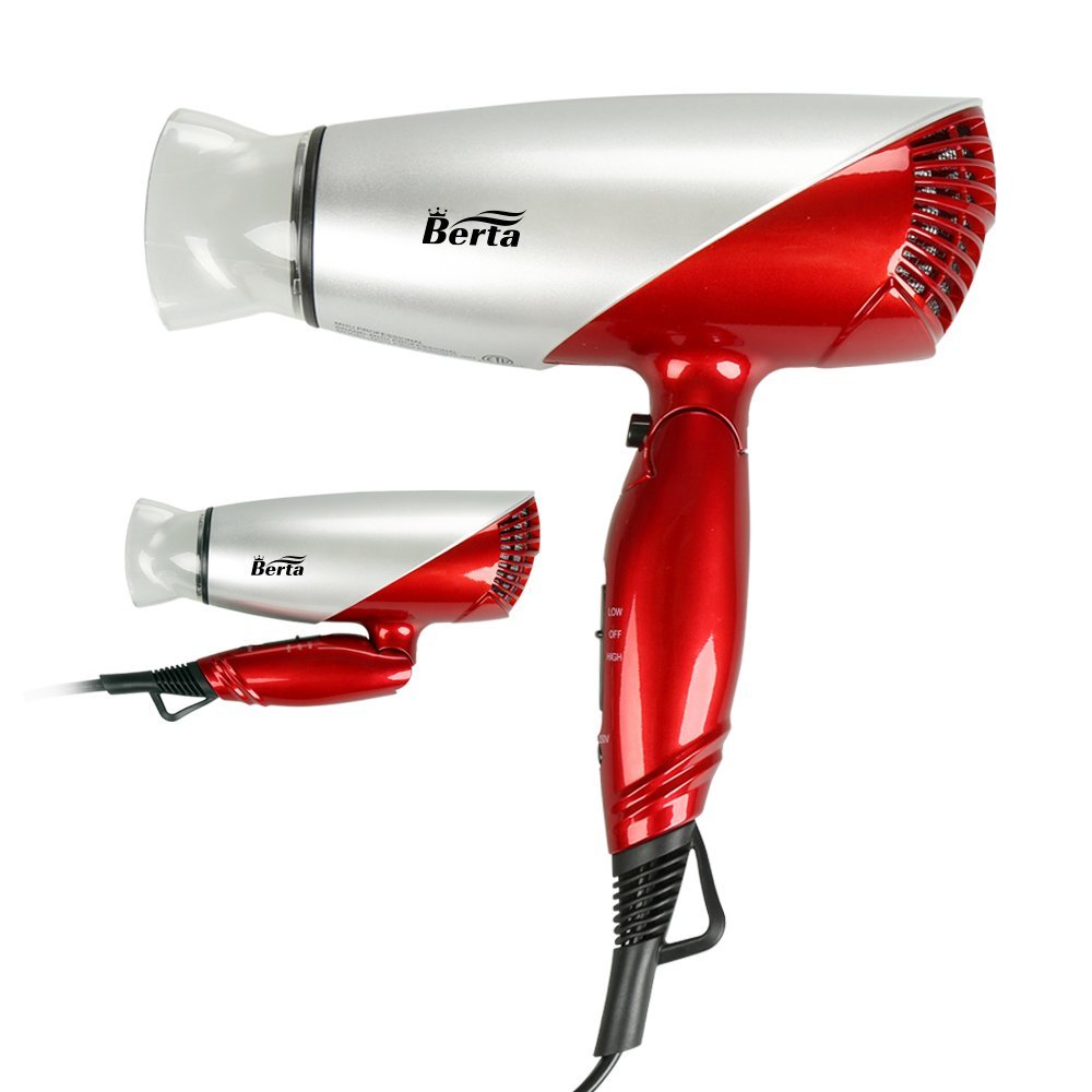 Berta 1875W Folding Hair Dryer Dual Voltage Blow dryer Negative Ions Travel Dryer with 2 Heat 2 Speed Setting, Red]