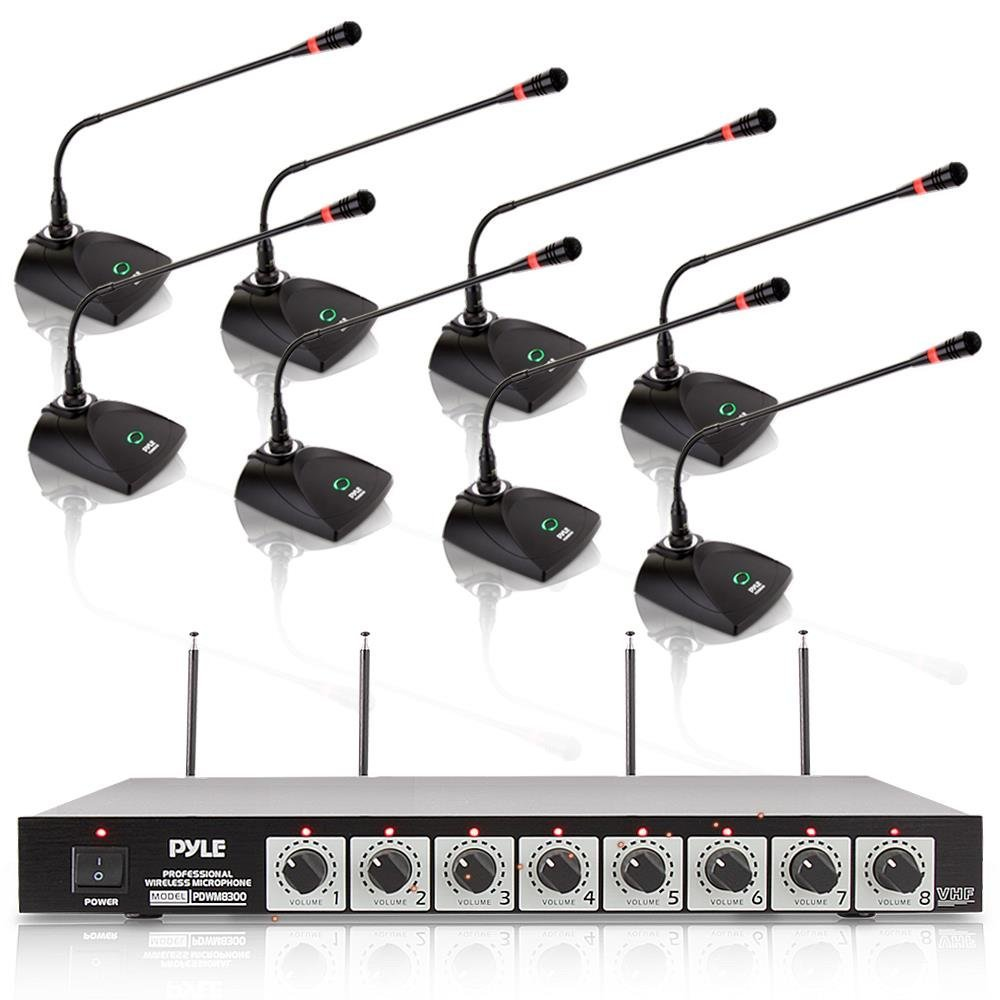 8 Channel Wireless Microphone System - Portable VHF Cordless Audio Mic Set with 1/4 and XLR Output, Dual Antenna, Includes 8 Table Top Mics, Rack Mountable Receiver Base - Pyle Pro PDWM8300