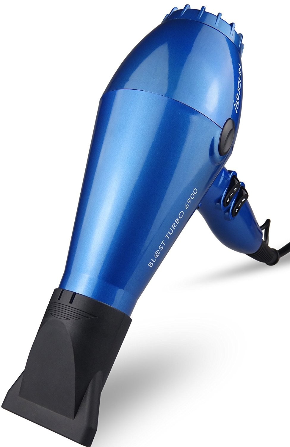 JOHN Blast 6900 Tourmaline Ceramic Ionic Professional Hair Dryer 2200W Powerful Fast Drying Blow Dryer 9Ft Cable AC Motor with 2 Nozzles for Salon Styling Glossy Blue
