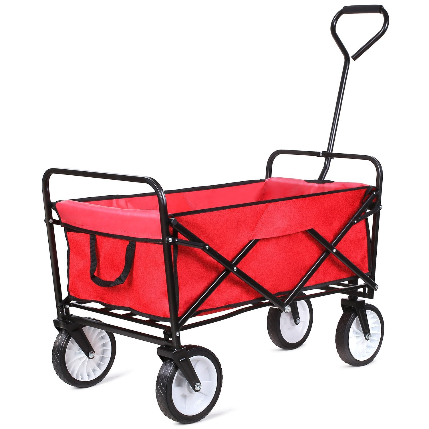 Femor Collapsible Folding Outdoor Utility Wagon [Heavy Duty Garden Cart]-Red