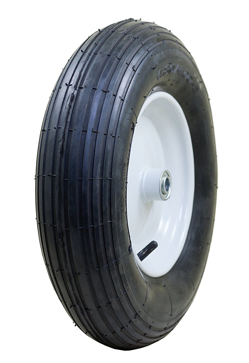 "arathon 4.80/4.00-8"" Pneumatic (Air Filled) Tire on Wheel, 3"" Hub, 3/4 Bearings, Ribbed Tread"