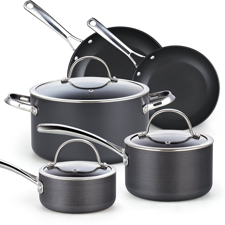 Cooks Standard 8-Piece Hard Anodized Nonstick Cookware Set, Black