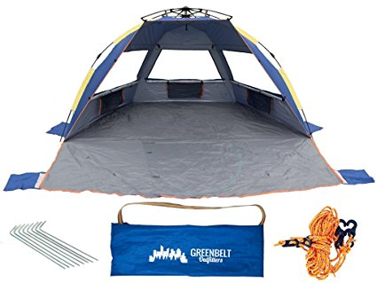 Greenbelt XL Beach Tents Sun Shade | Wind Proof Shelter 65+ UPF Protection | Family Sized Comfort | Easy Pop Up Tent | Extra Strength Heavy-Duty Poles | For Family, Infant, Toddlers, Baby