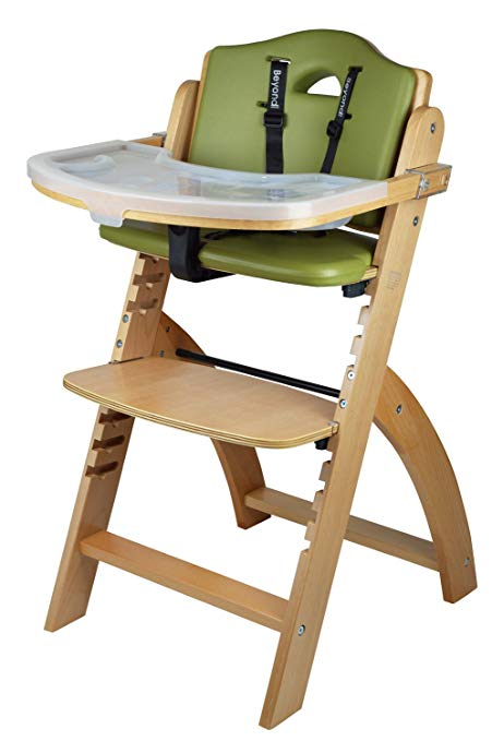 Abiie Beyond Wooden High Chair With Tray. The Perfect Adjustable Baby Highchair Solution For Your Babies and Toddlers or as a Dining Chair. (6 Months up to 250 Lb) (Natural Wood - Olive Cushion)