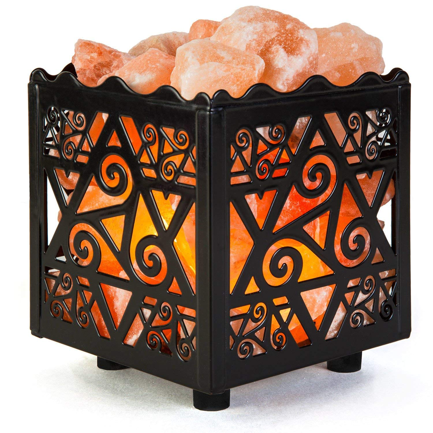 Crystal Decor Natural Himalayan Salt Lamp in Star Design Metal Basket with Dimmable Cord - salt lamp