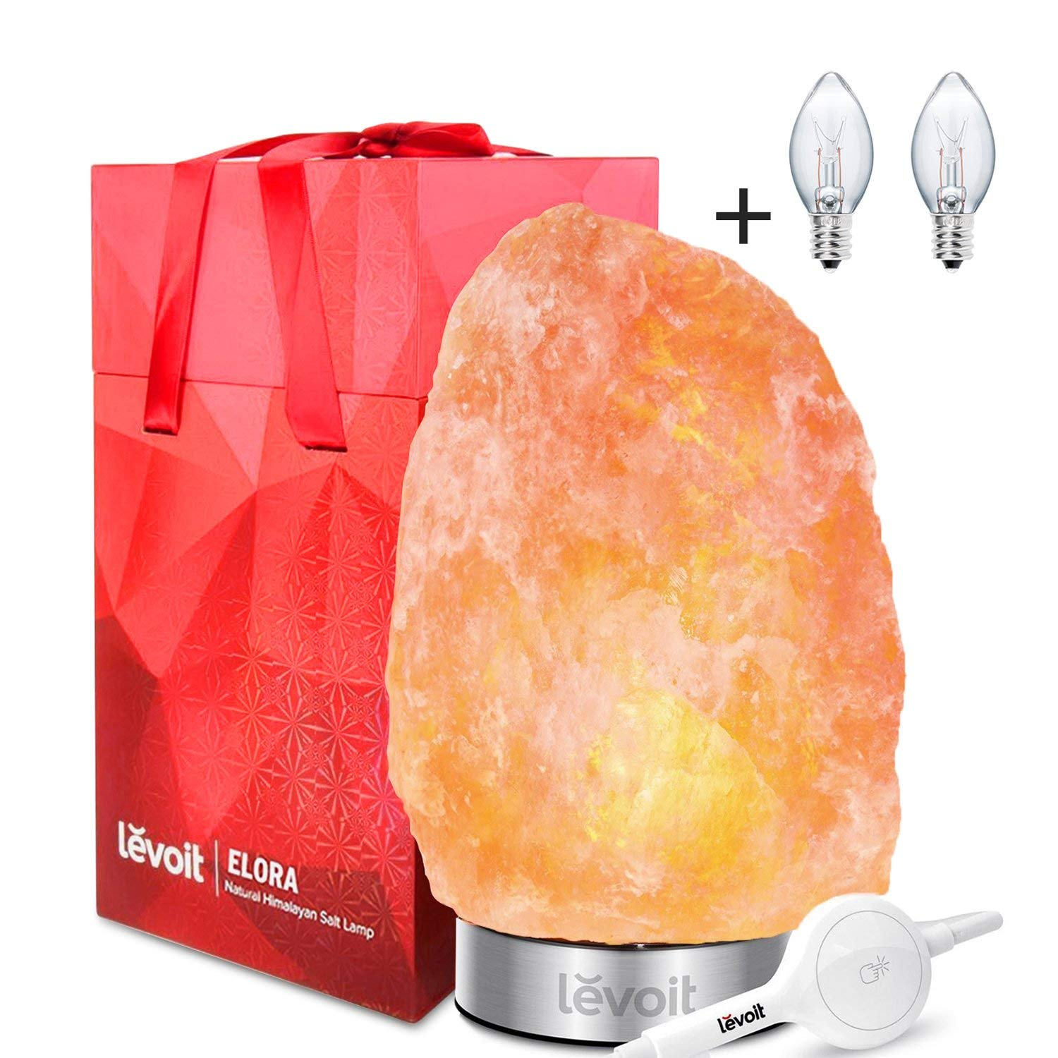 Levoit Elora Large Salt Lamp Pink Crystal Hand Carved Himalayan Salt Lamps with 18/8 Stainless Steel Base, Dimmable Touch Switch, Luxury Gift Box(UL-Listed, 2 Extra Original Bulbs Included)