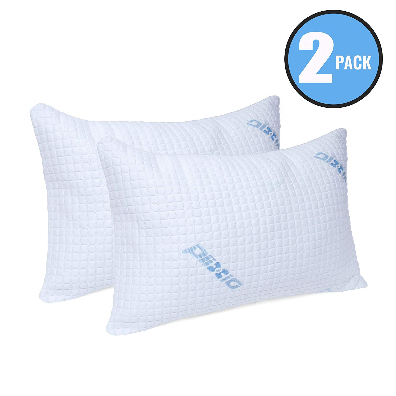 Deluxe Cooling Shredded Memory Foam Pillow with Bamboo Hypoallergenic Cover- 2 Pack King - bamboo pillows