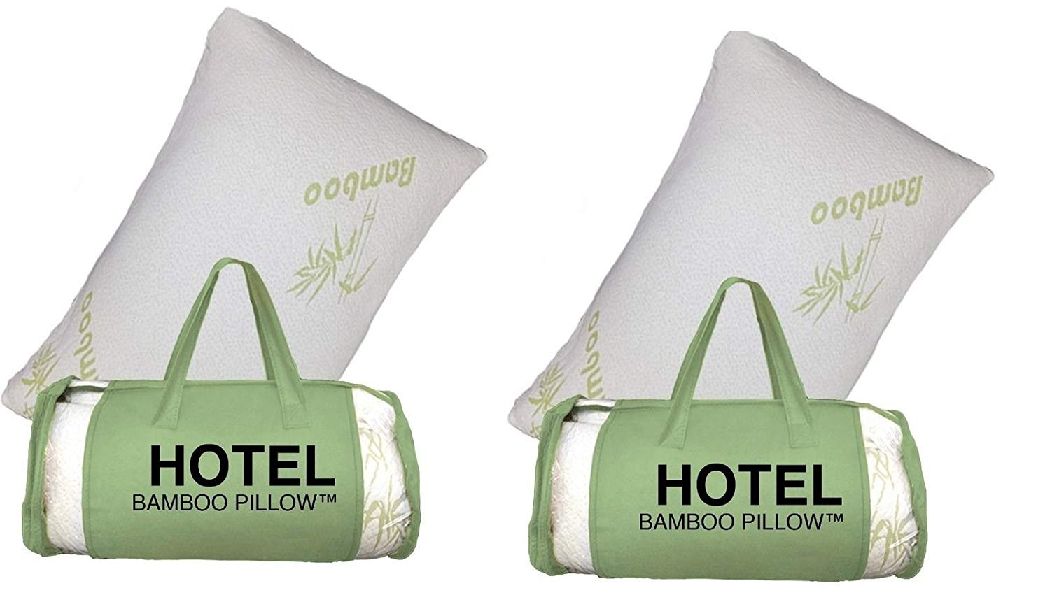 2 PACK King Hotel Bamboo Pillow Memory Foam Hypoallergenic Cool Comfort Bag