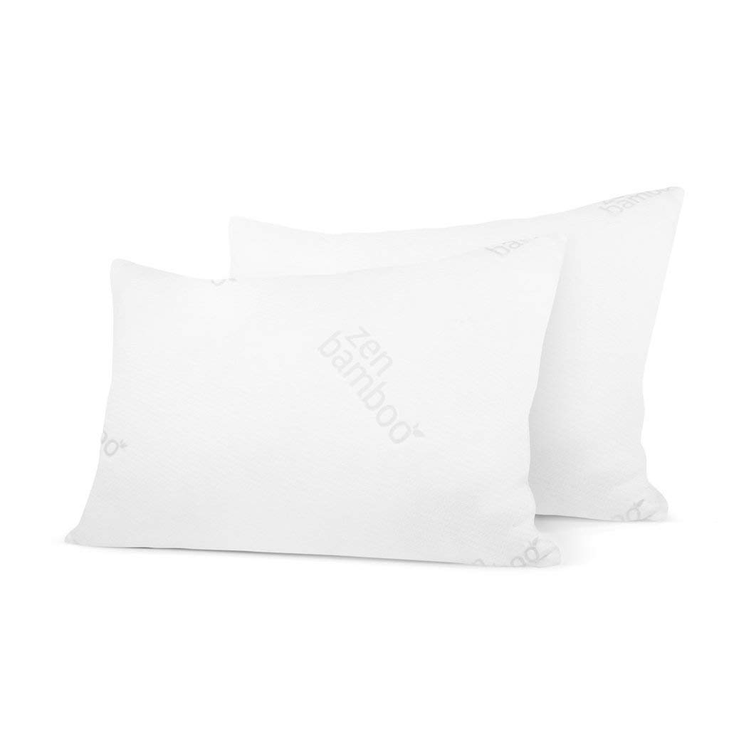 Zen Bamboo Ultra Plush Gel Pillow - (2 Pack Queen) Premium Gel Fiber Pillow with Cool & Breathable Bamboo Cover - Dust Mite Resistant & Hypoallergenic