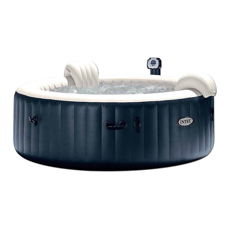 Intex pure spa 6-person inflatable portable heated bubble hot tub, black,28409E