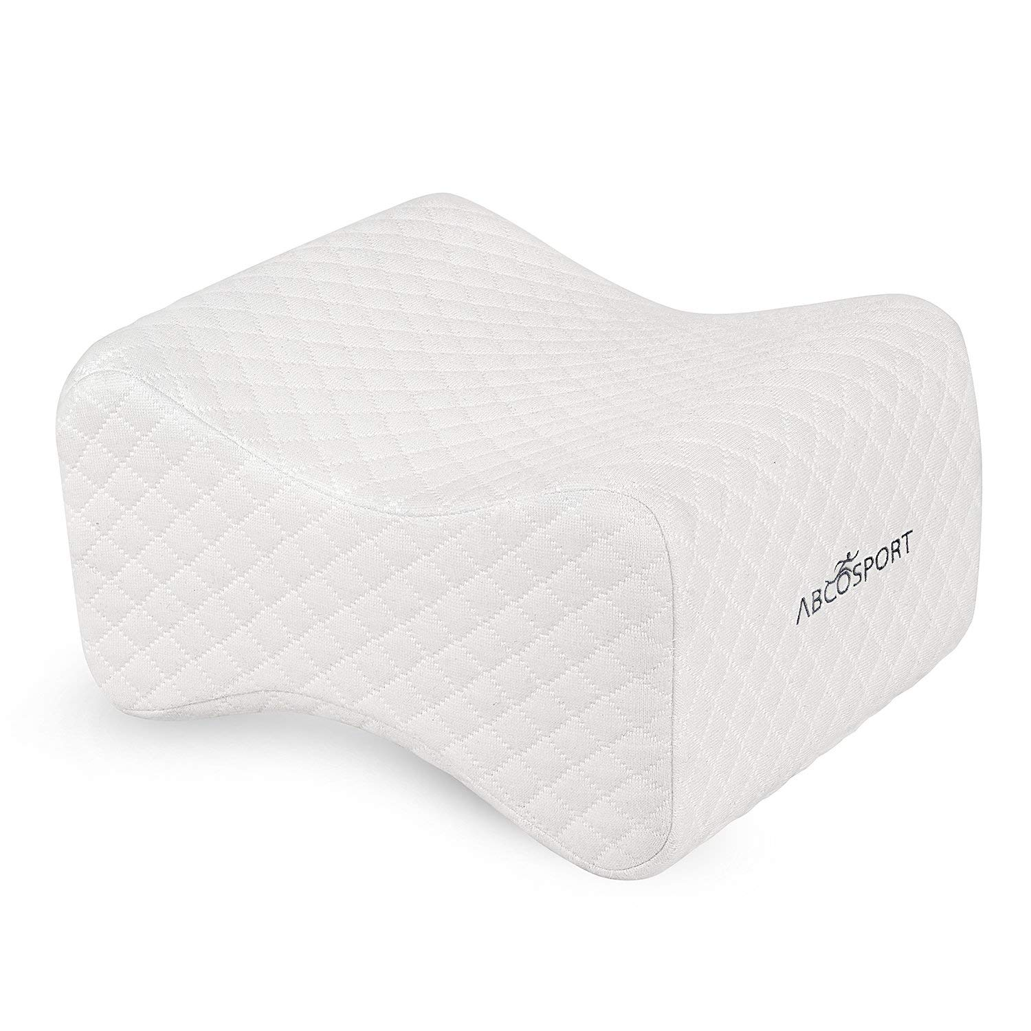 Knee pillow – ideal choice for hip, back, leg, knee pain, side sleepers, pregnancy & right spine alignment – premium comfortable memory foam wedge contour w washable cover & storage bag (white)