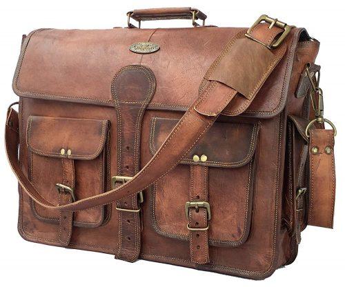 DHK 18 Inch Vintage Handmade Leather Messenger Bag for Laptop Briefcase Best Computer Satchel School distressed Bag