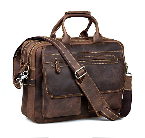 "Kattee Crazy-Horse Leather Briefcase 16"" Laptop Tote Shoulder Bag"