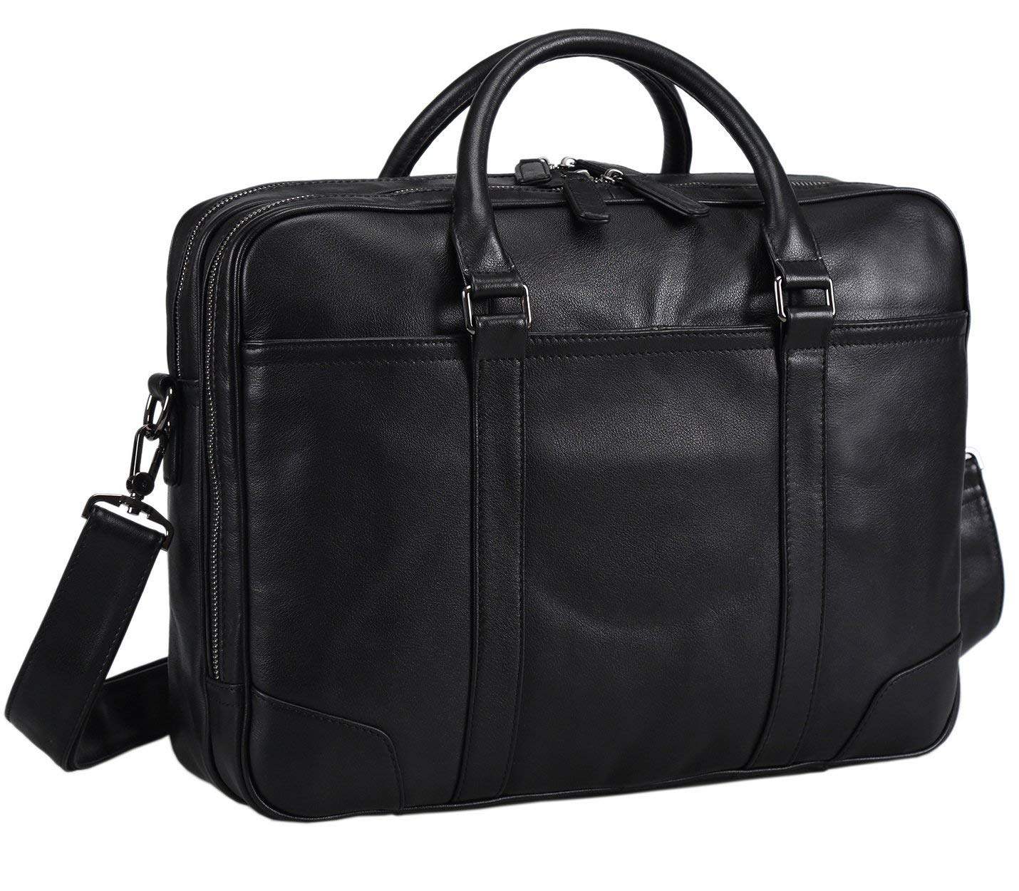 Polare Soft Real Leather Double Zipper Laptop Computer 16'' Briefcase Business Bag