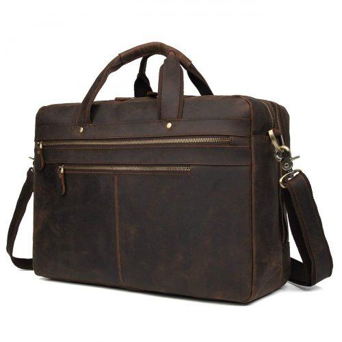 "Polare Vintage Full Grain Leather 17"" Laptop Case Professional Briefcase Business Bag For Men"