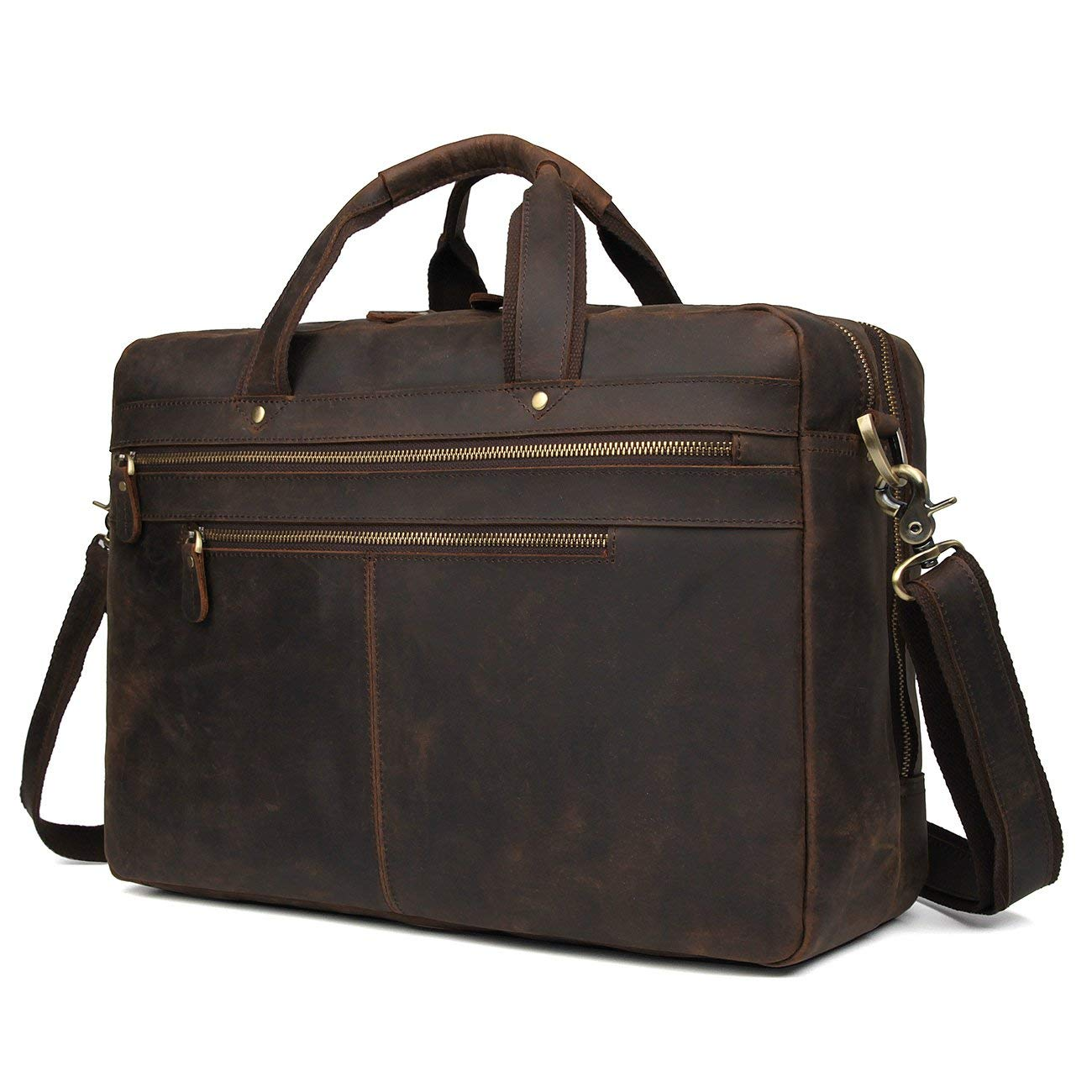 "Polare Vintage Full Grain Leather 17"" Laptop Case Professional Briefcase Business Bag For Men"