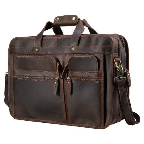 "Polare Men's 17"" Full Grain Leather Messenger Bag for Laptop Briefcase Tote"