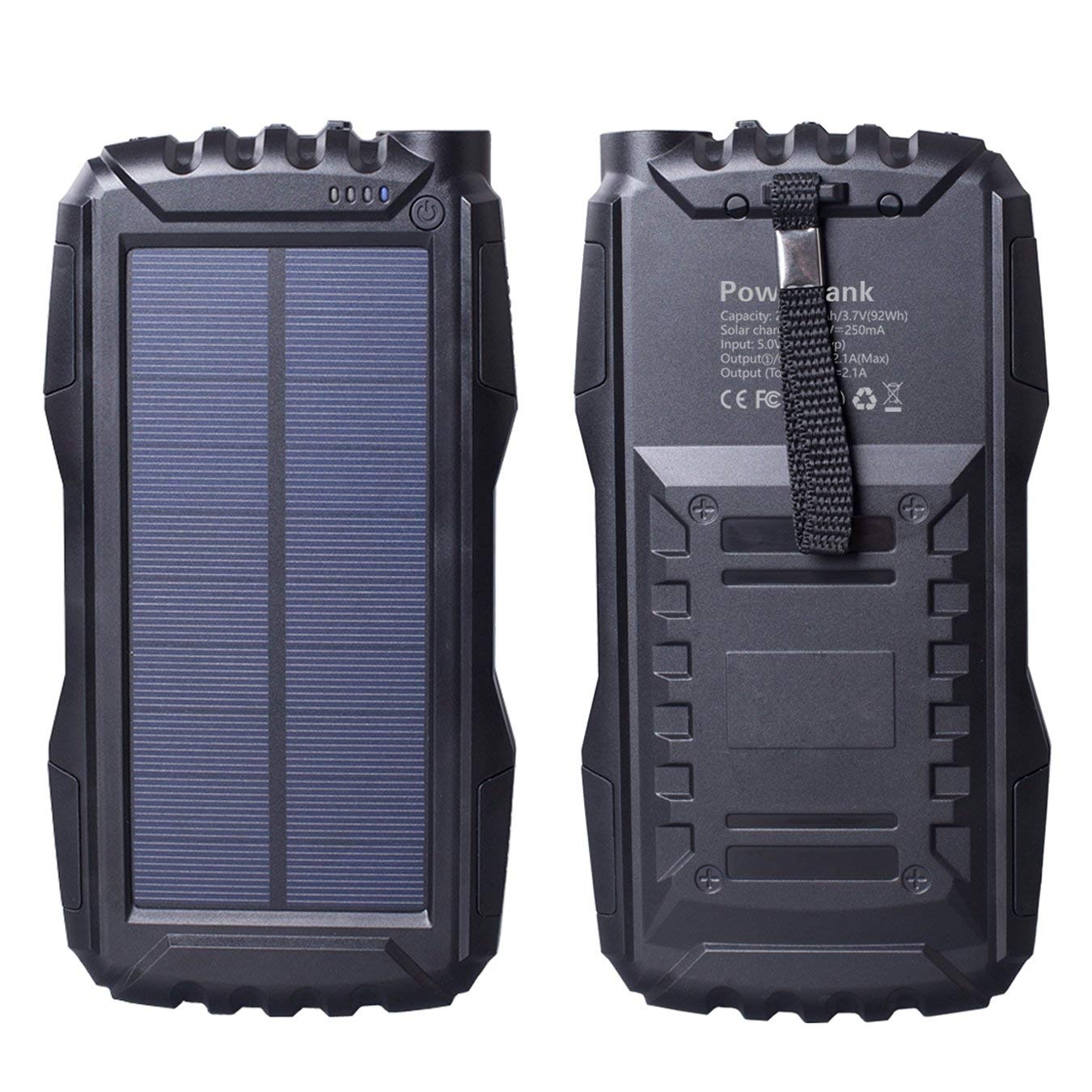 Solar Charger, Friengood Portable 25000mAh Solar Power Bank, Waterproof Solar External Battery Pack with Dual USB Ports and Flashlight for iPhone, iPad, Samsung, Android Phones and More (Black)