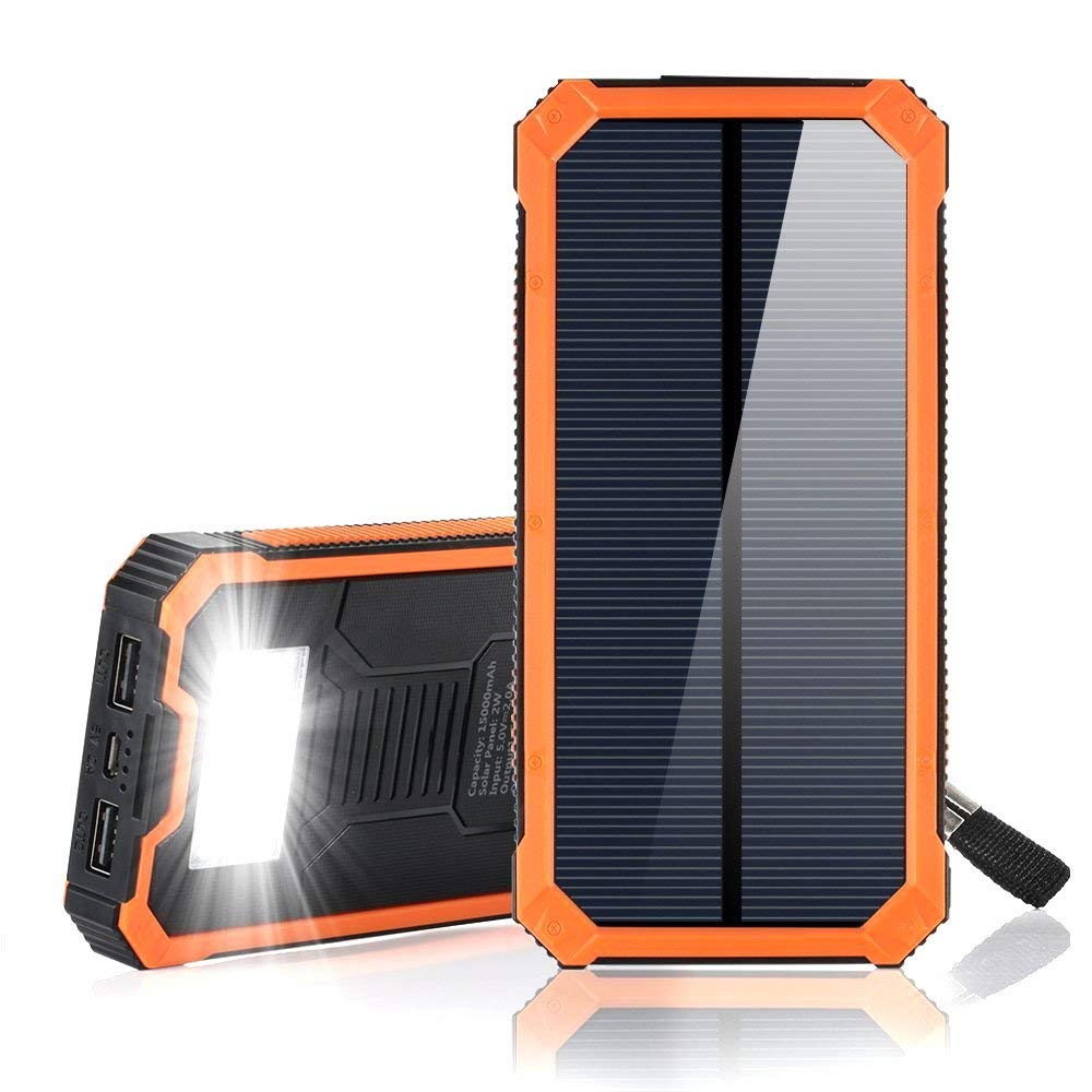 F.DORLA 15000mAh Solar Power Bank, Solar Charger Portable Dual USB Solar Phone Charger, Fast Charging External Battery Pack with 6 LED Flashlight for Cellphones Tablet Camera and More (Orange)