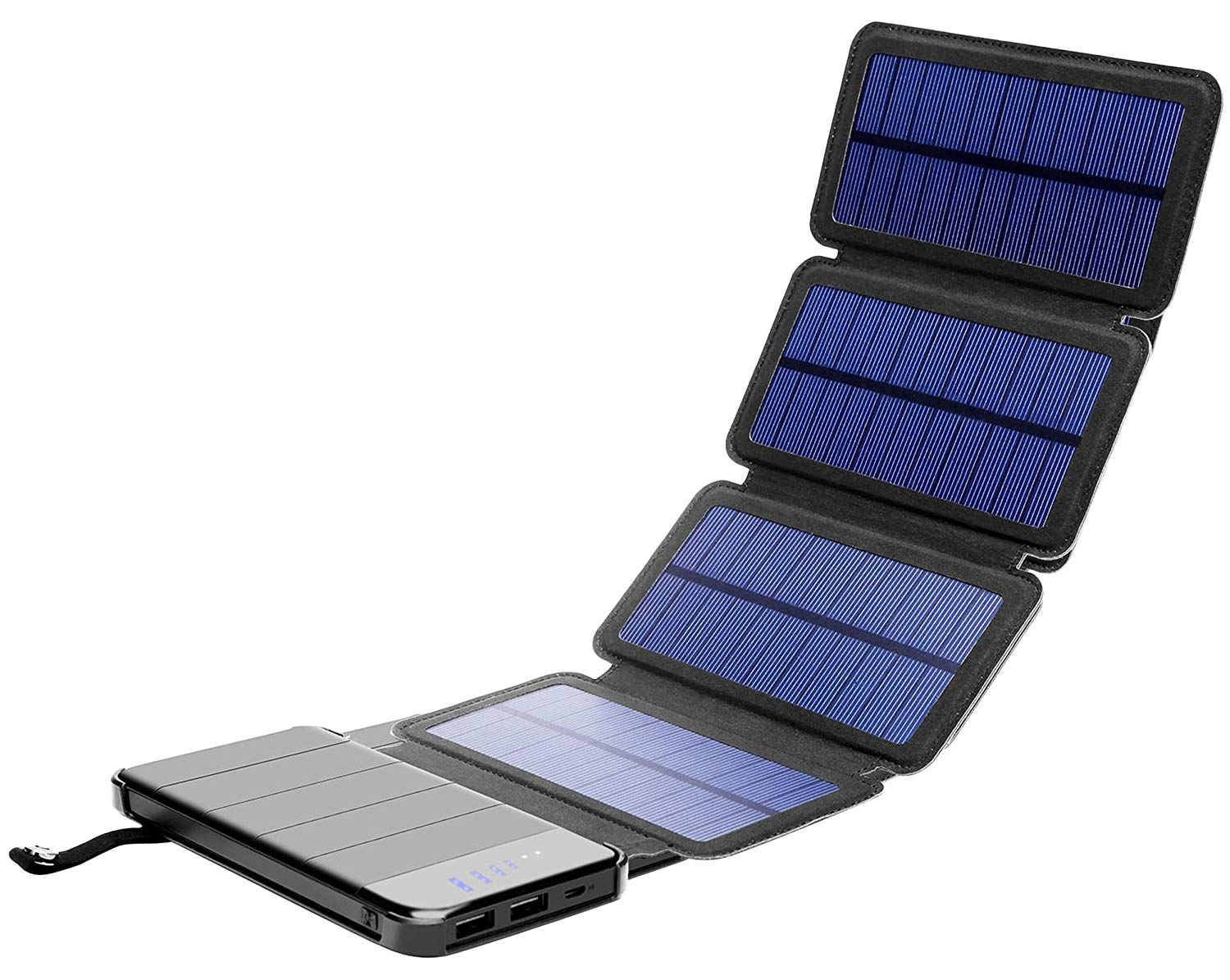 Solar Phone Charger 10.000mAh Power Bank-Portable Smartphone & iPhone Battery + Emergency Flashlight(2) USB Ports+(4) Foldable Solar Panels-Fast Charging Smart IC Hiking Camping