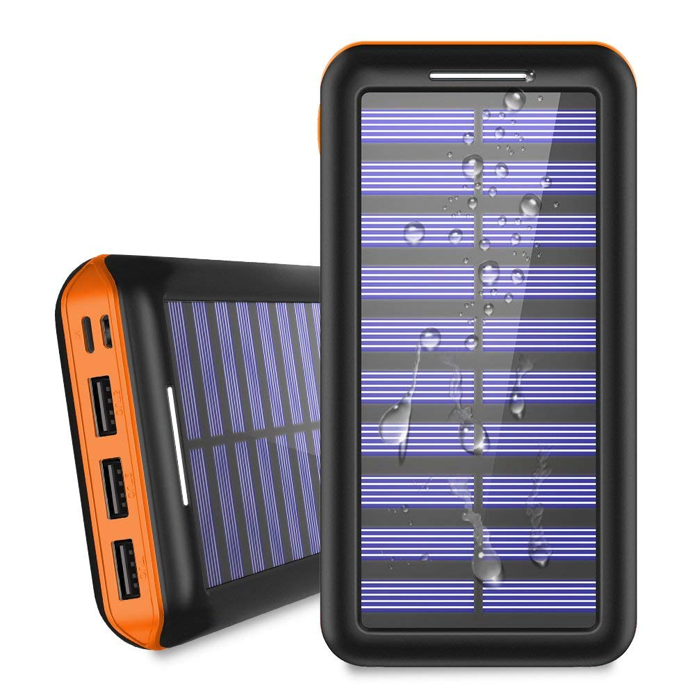 Portable Charger 24000mAh Solar Power Bank, 2 Input & 3 Output USB Phone Charger,ALLSOLAR External Battery Pack, iSmart 2.0 Tech Fast Charging for iPhone,iPad & Samsung Galaxy & More  Orange