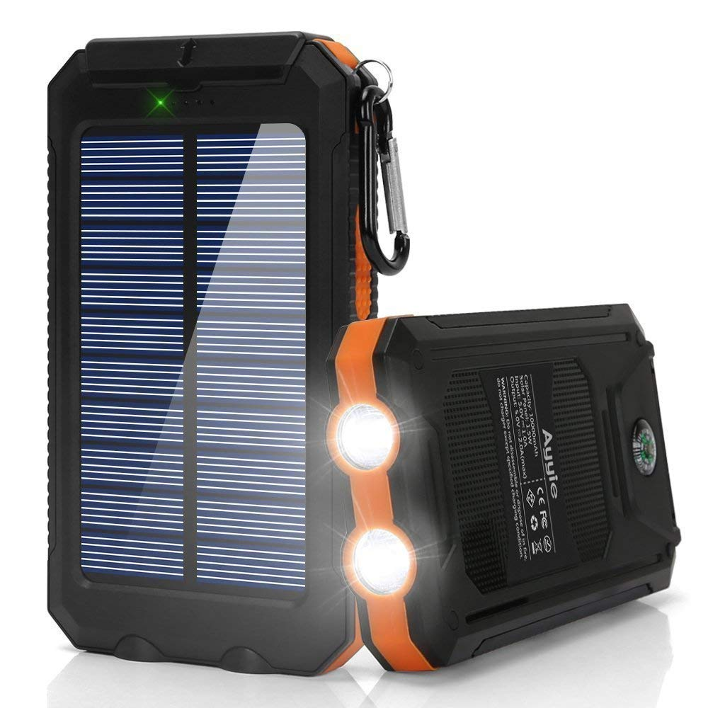 Ayyie Solar Charger,10000mAh Solar Power Bank Portable External Backup Battery Pack Dual USB Solar Phone Charger with 2LED Light Carabiner and Compass for Your Smartphones and More (Orange)