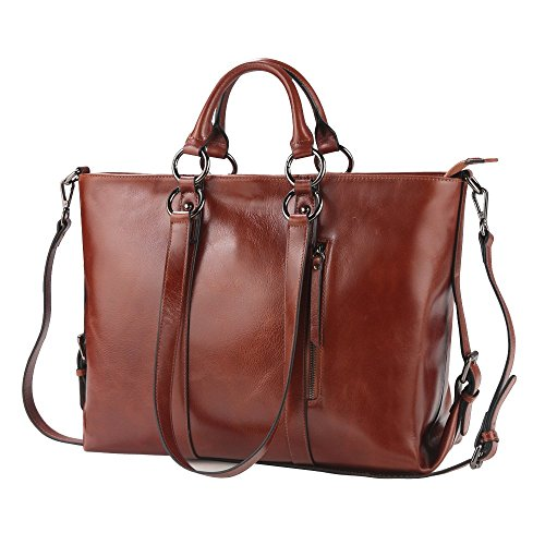 "S-ZONE women's 3-way genuine leather work tote laptop shoulder handbag messenger bag fit 14"" laptop upgrade version"