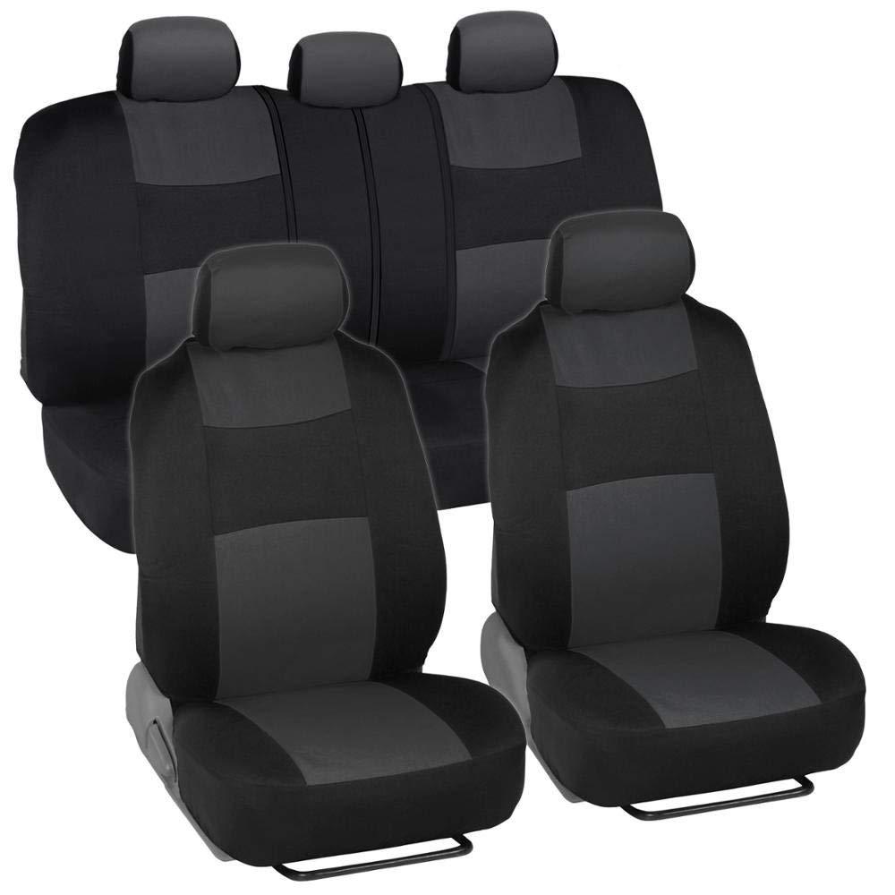BDK PolyCloth Black [Charcoal Gray] Car Seat Cover
