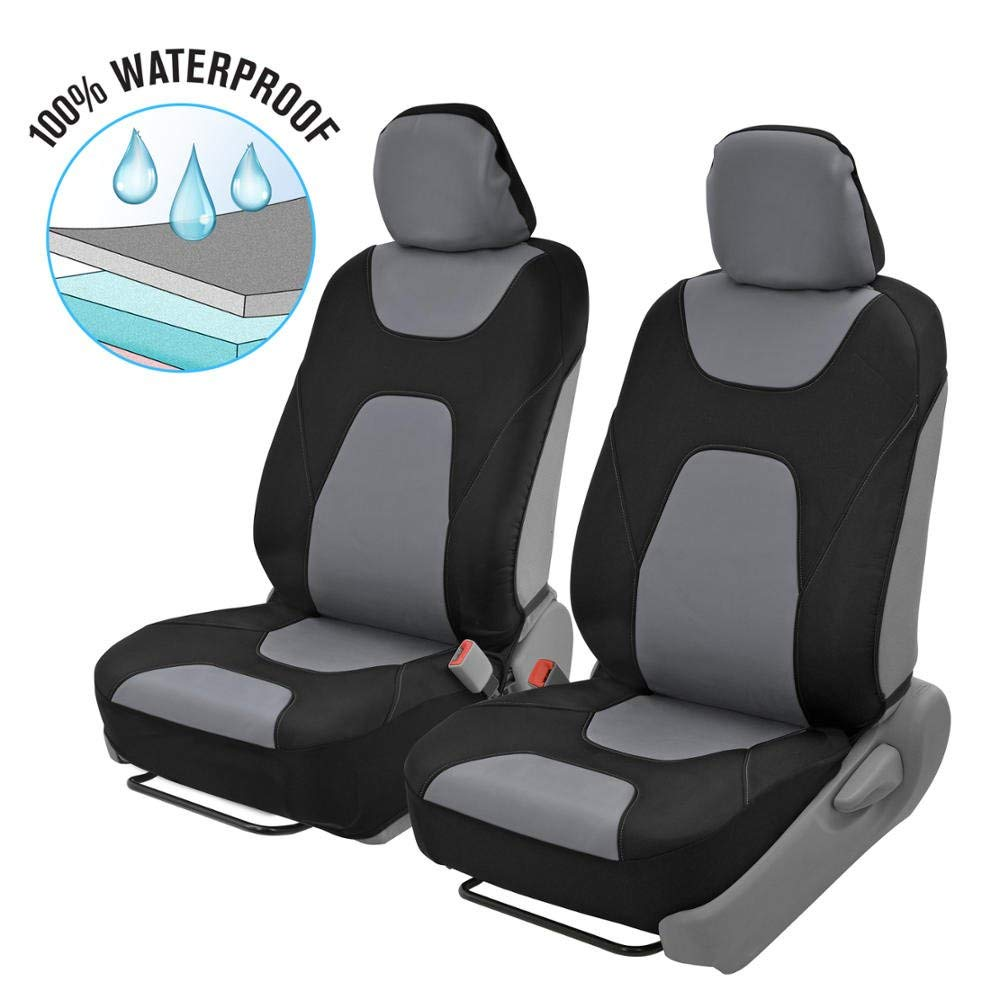 Motor Trend 3 Layer waterproof [Black/Gray Sides] Car Seat Covers