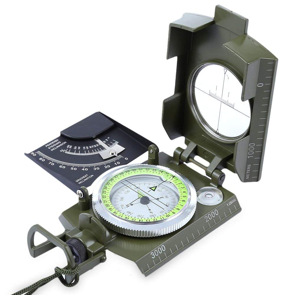 X-CAT Water Resistant Luminous Camping Prismatic [with Pouch] Compass