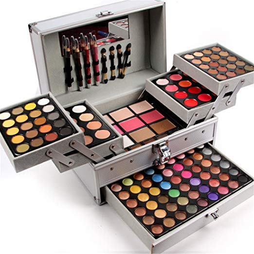 Pure Vie Professional 132 Colors Eyeshadow Concealer Blush Eyebrow Powder Palette Makeup Contouring Kit with Aluminum Case - Makeup Gift Set All In One Makeup Kit - Professional Makeup kits