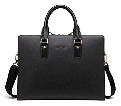 BOSTANTEN Leather Lawyers Briefcase Shoulder Laptop Business Slim Bags for Men & Women